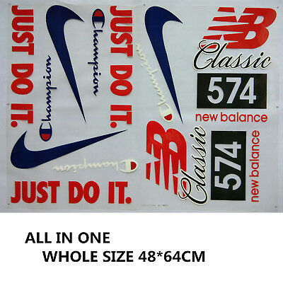 MIXED NIKE JUST DO IT. NB Champion LOGO IRON ON HEAT TRANSFER PATCHES FOR CLOTH
