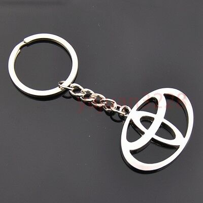 Auto 3D Car Logo Metal Key Chains Pendant Silver Holder Keyring for Toyota