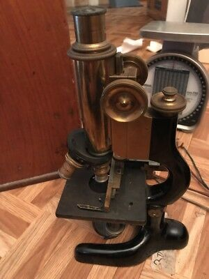 Antique  Bausch & Lomb Jug Handle Brass Microscope w/case