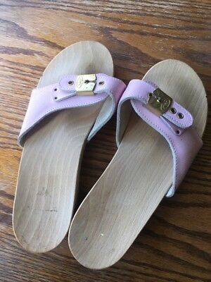 3d18038c470 Dr Scholl Classic Pescura Flat Wooden Pink Leather Sandals Sz UK 5   38