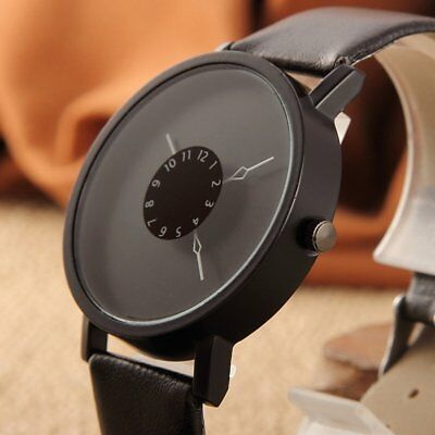 Casual PU Leather Band Strap Turntable Men Women Student Quartz Wrist Watch Gift