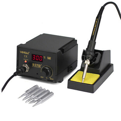 YIHUA 937D+ 60W Soldering Iron Station Weld 6 Tips Stand Kit Digital Display