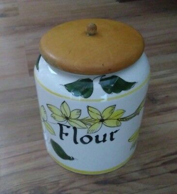 Vintage 1960s Toni Raymond Flour Storage Jar Wooden Lid Green Yellow Flowers