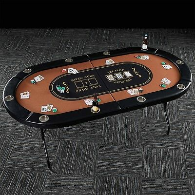 10 Player Poker Table Top Casino Play Friends Game Room Barrington Compact Size