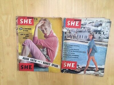 SHE MAGAZINE x 2 JUNE AUGUST 1960 FASHION STYLE Knitting etc.