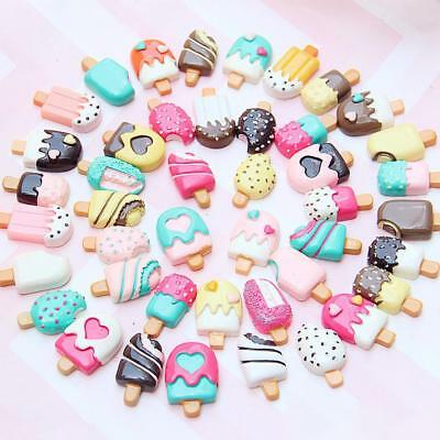 100pcs Slime Charms Mixed Resin Cake Beads Making for DIY Scrapbooking Crafts AU