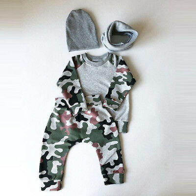 Newborn Infant Baby Boy T shirt Tops Camouflage Pants Hat Clothes Outfits Set