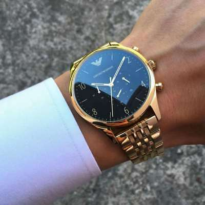 New Authentic Emporio Armani Ar1893 Yellow Gold Black Dial Mens Watch Uk Stock