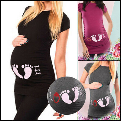 UK Pregnant Women Footprint Printed Long Tops Maternity Clothes T-shirt Blouse