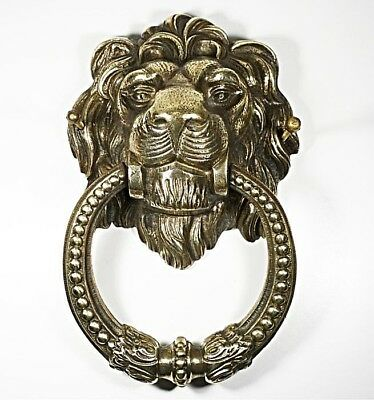 Antique Lion Bronze Door Knocker Ornate 19th Century