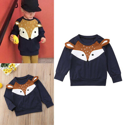 Fox Toddler Infant Kids Baby Girl Boy Pullover Sweater T-shirt Long Sleeve Tops