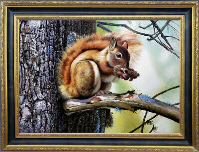 """Hand-painted Original Oil painting art Animal squirrel on Canvas 24""""X36"""""""