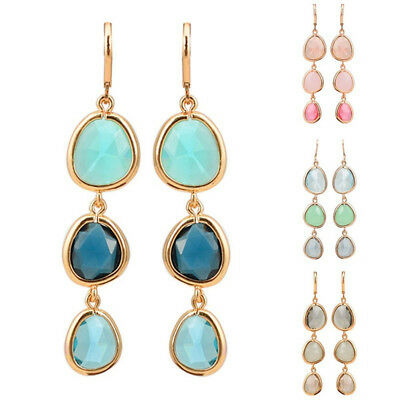 Statement Colorful Stone Gifts Luxury Dangle Crystal Earrings Long Drop