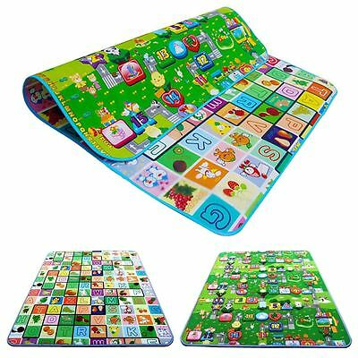 2X 2 Side Kids Crawling Educational Game Play Mat Soft Foam Picnic Carpet Mates