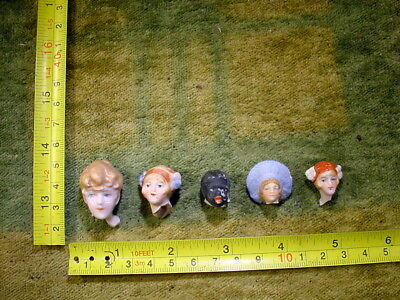 5 x excavated painted doll head age 1890 for mixed media or altered Art 11191