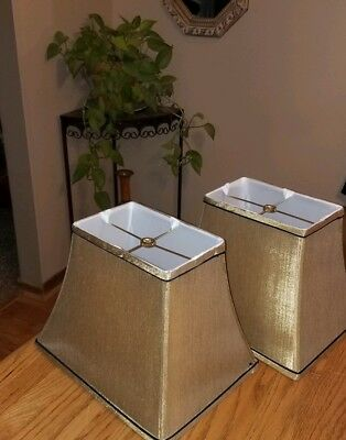 NICE Pair Vintage Art Deco Style GOLD/BLACK Lamp Shades~Square Tapered!