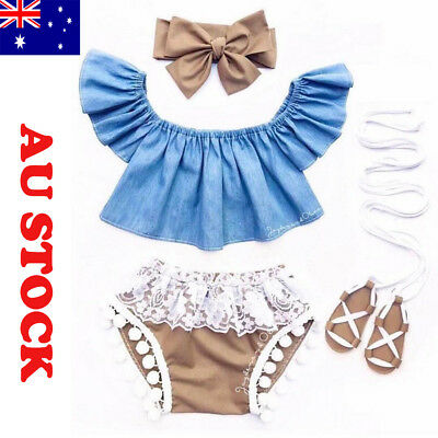 AU Newborn Toddler Baby Girls Denim Fly Sleeve Tops+Lace Shorts Outfit Clothes