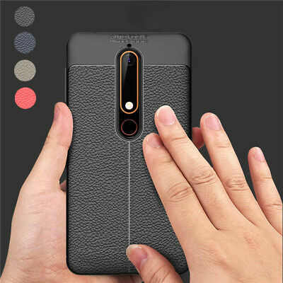 For Nokia 6.1 5.1 3.1 2.1 X6 X5 Silicone Rubber TPU Leather Slim Back Cover Case