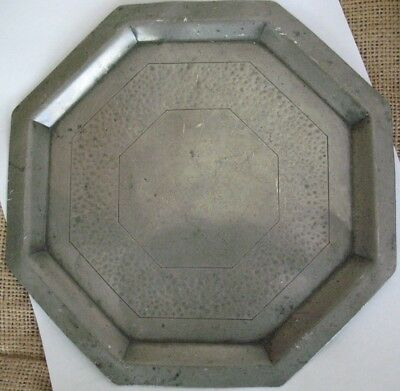 English Pewter Crown & Rose Octagonal Plate Early Antique Rare Shape Collector