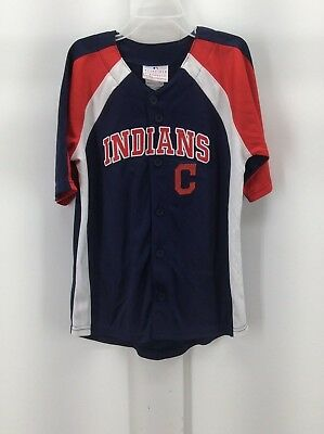 d5821de5f CLEVELAND INDIANS - Youth BOYS Navy Button Down Jersey Shirt - MLB - NEW