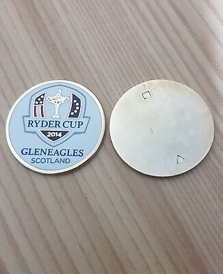 2014 RYDER CUP GLENEAGLES Scotland GOLF BALL MARKER New Flat Coin EUROPE vs USA