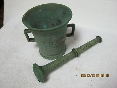 Antique Pharmacy Mortar & Pestle Beautiful Patina. Found In A 1930's Pharmacy