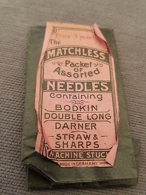 Vintage Matchless Sewing Needles in leather case Made in Germany