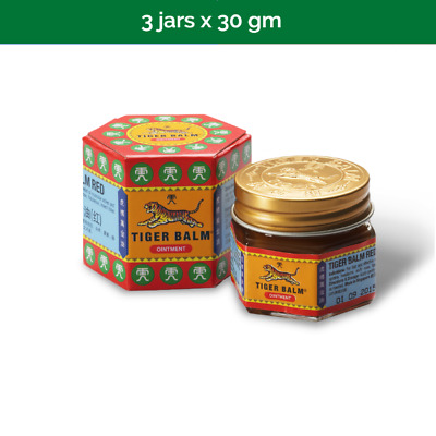 3x 30g TIGER BALM Plus Red Ointment for relief of muscular aches & pains