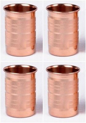 4 Pcs.100% CopperDesigner Drinking Glass Cup Mug Ayurveda Health Yoga