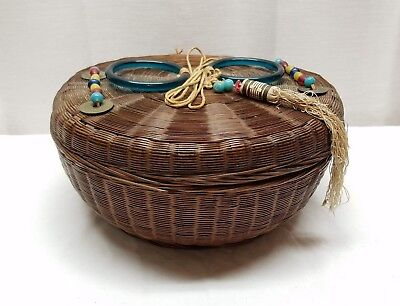 Vintage Antique Glass Bangle Handle Sewing Basket Coin Bead Large Wicker Chinese
