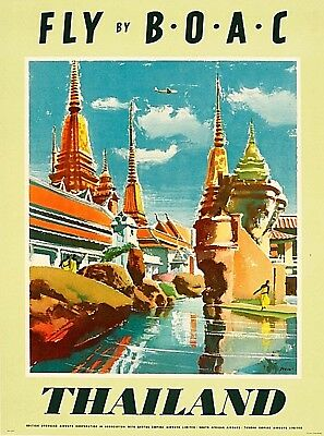 Fly B-O-A-C to Thailand Asia Asian Vintage Travel Advertisement Art Poster