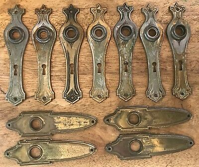 Vintage Antique Lot of 11 Ornate Metal Backplates with Keyholes - Back Plates