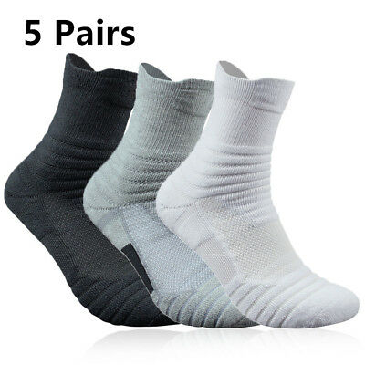 Elite Basketball Socks 5 Pack Athletic Crew Sport Training Gym Middle Ankle Men