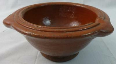 Unusual Antique Redware Bowl with Single Spout 19TH Century