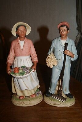 "Vintage 10"" Homco African American Farm Couple Porcelain Figurines #1456"