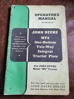 Vintage John Deere MT3 One-Bottom Two-Way Integral Tractor Plow Operators Manual