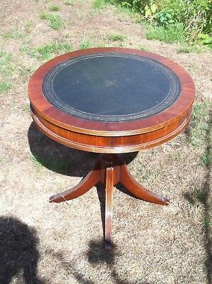 Reproduction Mahogany Leather Topped Drum Table with 2 Drawers by Reprodux