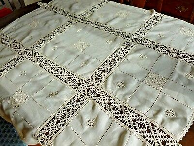 Antique Italian Linen Needlelace Reticella Lace Tablecloth Embroid Tassels