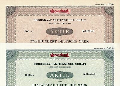 Lot/Set: 2 x Doornkaat Aktienges. 1953/1960 ü. 200/1000DM Norden/Ostfriesland