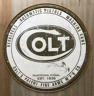 New Colt Firearms Round Tin Metal Sign NR!! Vintage NEW