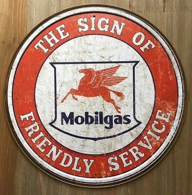 New Mobilgas Friendly Service Round Tin Metal Sign NR!! Vintage NEW