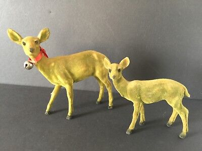 Flocked Deer Vintage Christmas Set of (2) Doe and Fawn Made in Taiwan