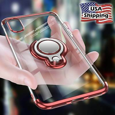 For iPhone Xs Max XR Magnetic Shockproof Ring Holder Plating Soft TPU Clear Case