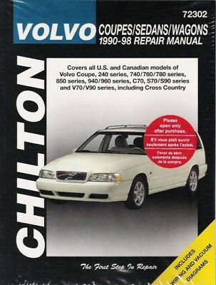 1990-1998 volvo all coupes sedans wagons chilton service repair manual book  0955