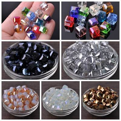 Wholesale 10mm Charms Cube Faceted Crystal Glass Loose Spacer Beads DIY Findings