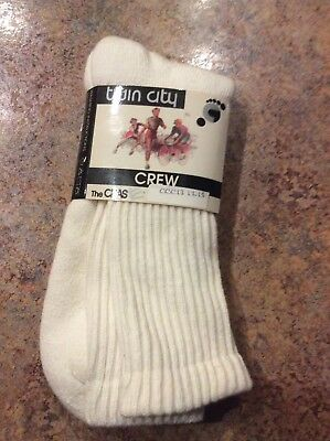 Vintage Twin City White Crew Socks Size 13-15