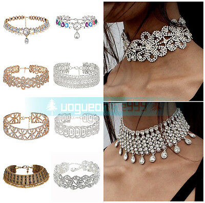 Women Lady Crystal Bling Rhinestone Neck Choker Party Short Pendant Bib Necklace