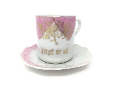 Antique German 19th Century Victorian Cup Saucer Forget Me Not Pink White Gold