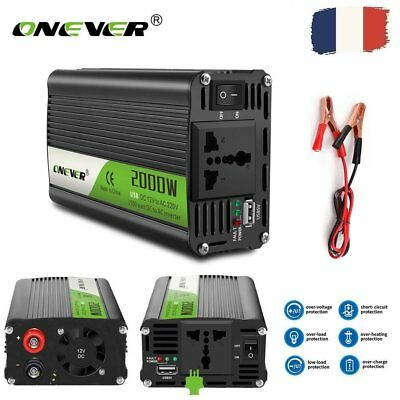 Voiture 2000W/2400W Power Inverter DC12V à AC 220V Convertisseur USB Chargeur