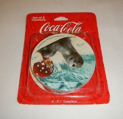 VTG 1997 Coca-Cola Coke Seal Coasters set of 6 in original package